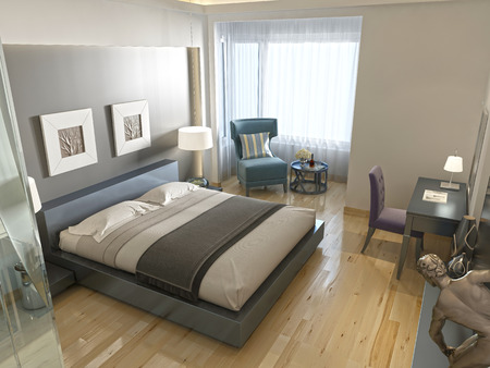 niche: Modern hotel room with large bed, contemporary style with elements of art Deco. Decorative niche in the wall with lighting and glass bathroom. 3D render