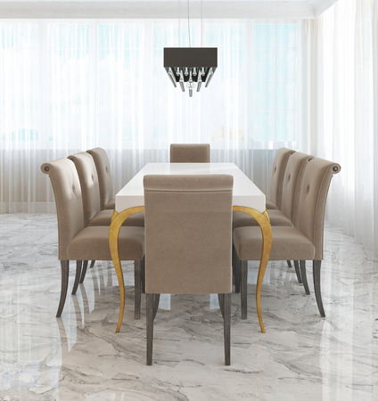 Ordinaire Large Dining Table For Eight In The Style Of Art Deco. White.. Stock Photo,  Picture And Royalty Free Image. Image 66527506.