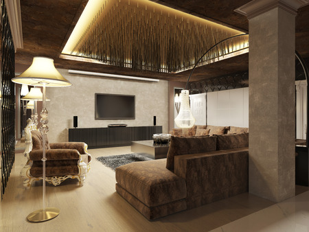 living room design: Luxury modern living room done in the art Deco style in dark brown tones. The design is made in brown and yellow color. 3D render.