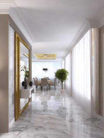 Lussuoso atrio in stile Art Déco con un grande specchio di design in cornice d'oro e l'arredamento console integrata. 3D render.
