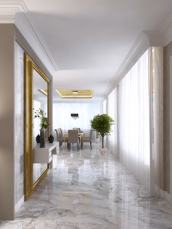 Luxurious Art-Deco entrance hall with a large designer mirror in gold frame and built-in console decor. 3D render.