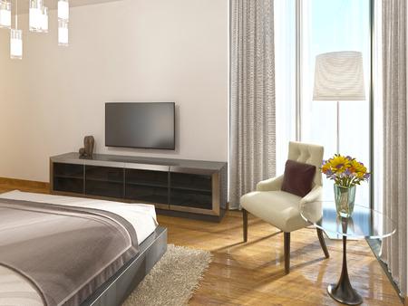 storage unit: Modern TV unit in a hotel room of art Deco. 3D render.