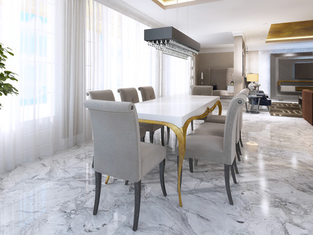 Large Dining Table For Eight In The Style Of Art Deco White Desk With Gold