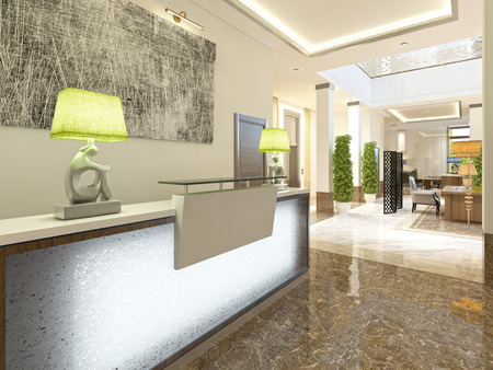 visitors area: Modern design reception area for meeting registration and hotel visitors. 3D render. Stock Photo