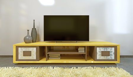 Bright yellow TV unit in modern living room with TV. 3D render.
