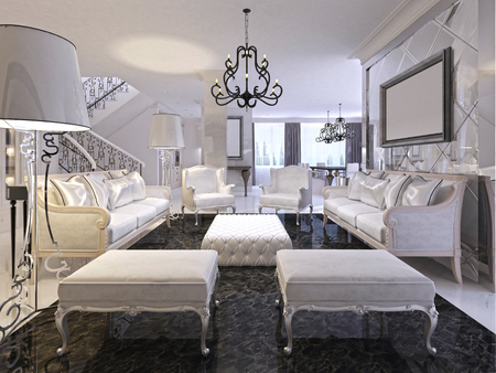 Luxury White Living Room With White Furniture And Black Marble Floor. Two Classic  Sofa And