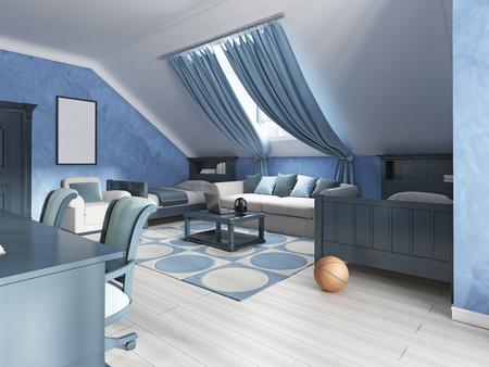 #66490574   Kinderzimmerdesign Im Marine Stil Für Zwei Kinder. Kinder In  Blautönen Mit Zwei Betten Und Einem Beigen Sofa Gemacht. 3D übertragen.