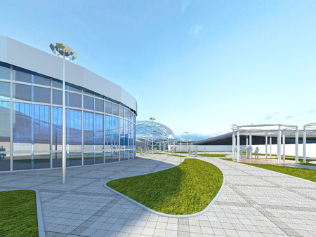 industrial park: Design construction in the park area in the industrial style. 3D render. Stock Photo