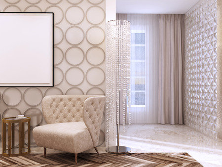 Seating area in the living room in the style of art Deco. Designer chairs and leather wall with decorative circles. 3D render. Stock Photo