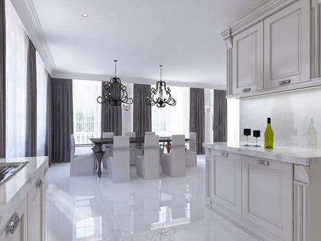 Classico bianco cucina-sala da pranzo in stile Art Deco. Grande tavolo da pranzo per otto cucine componibili con elettrodomestici integrati. 3D render. Archivio Fotografico