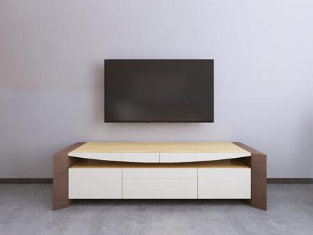 unidad de TV en una sala contemporánea. render 3D.