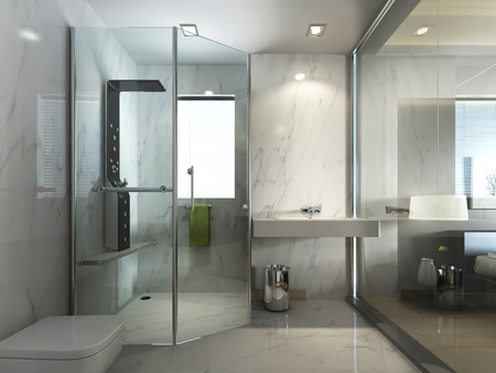 Transparent glass bathroom with shower and WC in contemporary style contemporary. 3D render. Archivio Fotografico