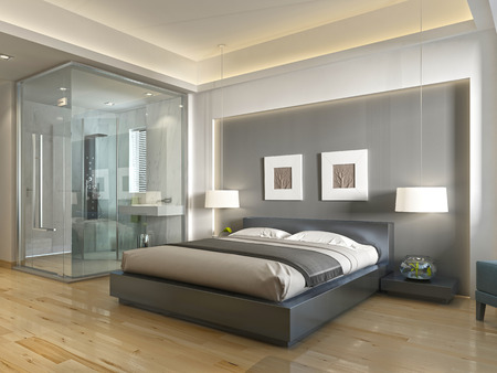 decorative wall: Modern hotel room with large bed, contemporary style with elements of art Deco. Decorative niche in the wall with lighting and glass bathroom. 3D render