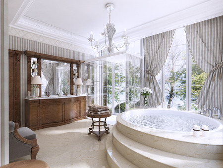 Luxury Bathroom In Classic Style With Jacuzzi Shower And Furniture 3D