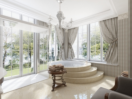marble stone: Large round bath in the bathroom in a classic style. Marble steps and floor. Low table for linen and toilet with bidet. 3D render.