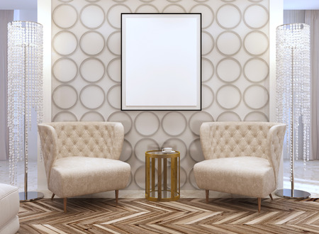 seating area: Seating area in the living room in the style of art Deco. Designer chairs and leather wall with decorative circles. 3D render. Stock Photo