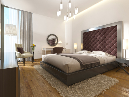 A luxury hotel room in art Deco. With a large bed, dressing table and TV unit. 3D render. Stockfoto