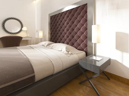 Doux, tête de lit matelassé, couleur Bourgogne, cadre en métal et des tables de chevet avec lampes. Rendu 3D. Banque d'images