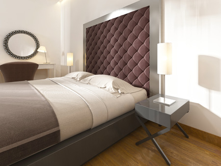 bedside tables: Soft, quilted headboard, Burgundy color, metal frame and bedside tables with lamps. 3D render. Stock Photo