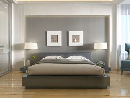 Modern one double bed front view, with a niche at the head and two hanging lamps over bedside tables. 3D render.