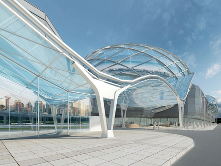 walkway: Futuristic modern design mega mall glass and steel dome and wavy shape. 3D render.
