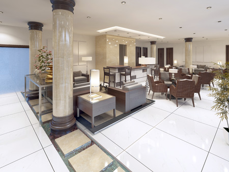 bar area: The interior design of the lobby with a Breakfast area. 3D render