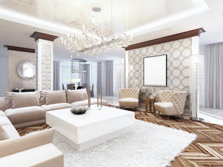 豪華な大型リビング ルーム スタイルのアールデコ。白のトーンとベージュのソファとアームチェアのある乳白色色の家具。3 D のレンダリング。 写真素材