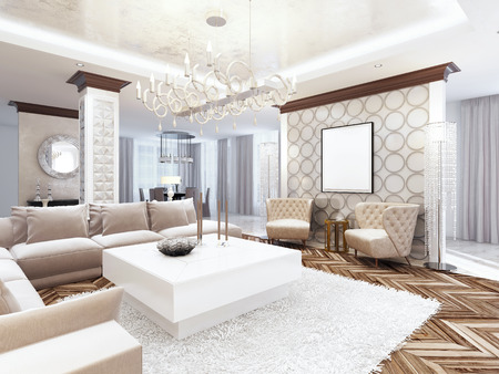 Luxurious large living room style art Deco. Furniture in white tones and milky colors with beige sofa and armchairs. 3D render. Archivio Fotografico