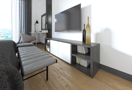 big screen tv: TV stand in the bedroom in a modern style. 3D render