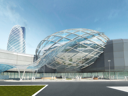dome: Futuristic modern design mega mall glass and steel dome and wavy shape. 3D render.