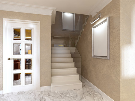 Flight of stairs with railings made of glass in the interior style of art Deco. 3D render.