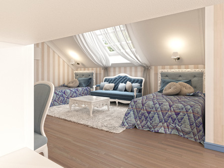 Luxury children's bedroom for two kids with twin beds in blue and milk color. 3D render. Stock Photo