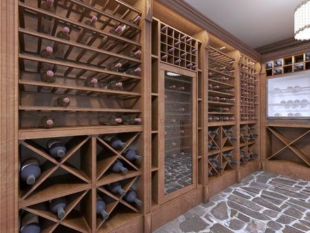 素朴なスタイルの家の地下のワインセラー。ボトル オープンのワインの棚。3 D のレンダリング。