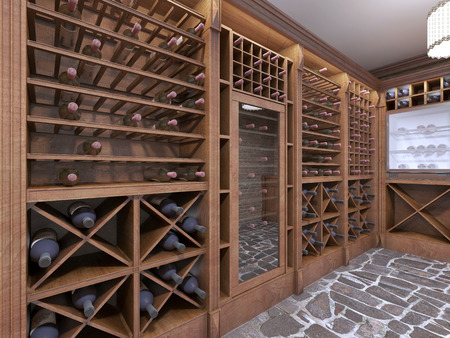 Wine cellar in the basement of the house in a rustic style. Open wine racks with bottles. 3D render. Stok Fotoğraf - 66537260
