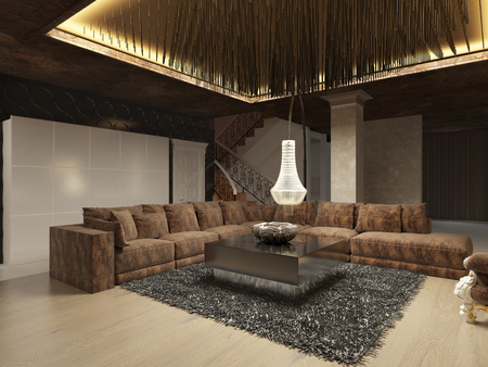 living room sofa: Luxury modern living room done in the art Deco style in dark brown tones. The design is made in brown and yellow color. 3D render.