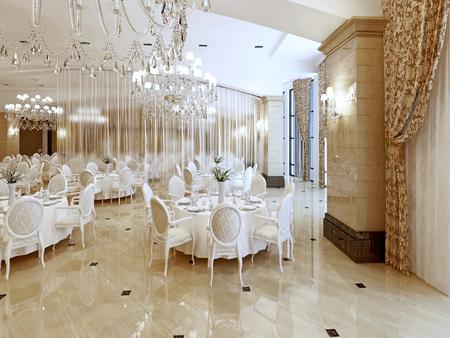 Un grand restaurant et une salle de bal dans un hôtel de luxe. Le design intérieur est exécuté dans un style classique. Rendu 3D.