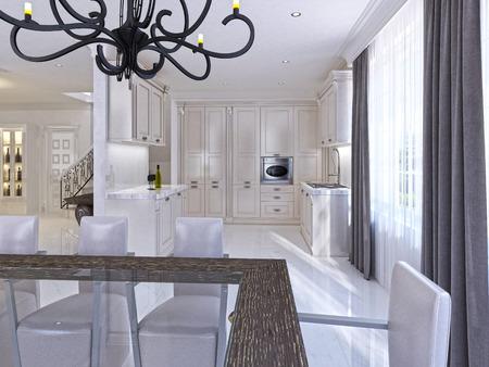 Ruime witte keuken in de art deco stijl met geïntegreerde apparatuur