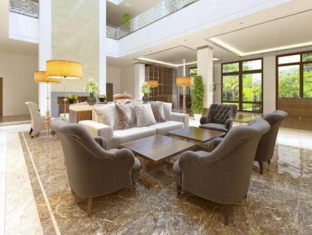 Diseño en el estilo Art Deco de la sala de espera para los visitantes del hotel. render 3D.