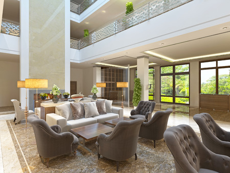 The interior design of the lounge area with a fireplace in a luxurious building of the hotel. The waiting area at the hotel. 3D render. Stock Photo