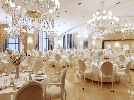 The ballroom and restaurant in classic style. Interior in yellow and beige colors. 3D render.