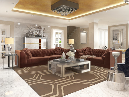 upholstered: Living room in art Deco style with upholstered designer furniture. With a gold ceiling and walls in Venetian plaster. 3D render.