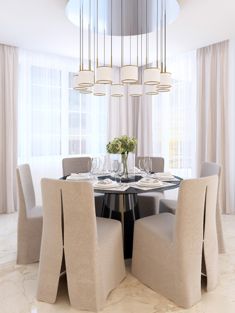 over black: Modern dining table with six chairs. Black decorated table and chandelier over it. Dining room art Deco. 3D render. Stock Photo