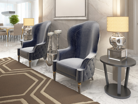 luxurious: Two luxurious armchairs in the style of art Deco with a coffee table and the picture illuminated on the wall. Two bedside tables with large lamps. 3D render.