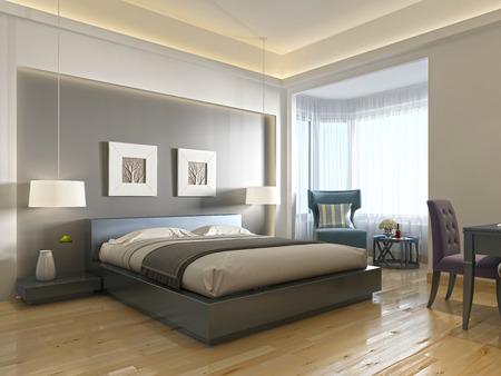 habitación de un hotel moderno, con una cama grande, estilo contemporáneo con elementos del arte Deco. nicho decorativo en la pared con la iluminación y baño de cristal. 3D rinden
