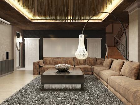 Art Deco Stijl : Luxury modern living room done in the art deco style in dark
