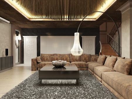 Luxury Modern Living Room Done In The Art Deco Style In Dark Brown Tones.  The Part 93