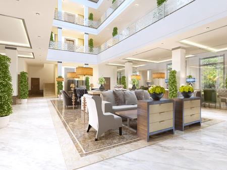 Le design intérieur de la zone de salon avec une cheminée dans un immeuble luxueux de l'hôtel. La zone d'attente à l'hôtel. Rendu 3D.