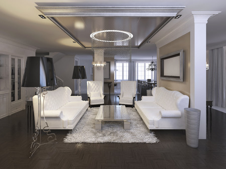 Luxurious living room design with white chairs and sofa. Silver hanging ceiling with chandelier and black floor lamps. 3D render.