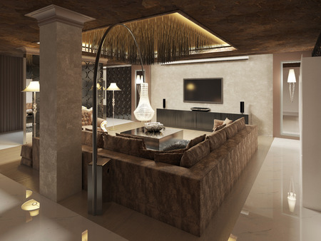 color tone: Luxury modern living room done in the art Deco style in dark brown tones. The design is made in brown and yellow color. 3D render.