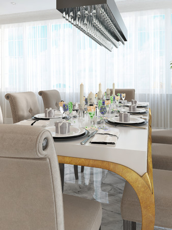 eight legs: Beautifully decorated table and chairs for eight people. White table with Golden legs and rectangular chandelier in black. 3D render.